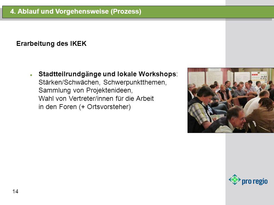 14 4. Ablauf und Vorgehensweise (Prozess) Erarbeitung des IKEK Stadtteilrundgänge und lokale Workshops: Stärken/Schwächen, Schwerpunktthemen, Sammlung