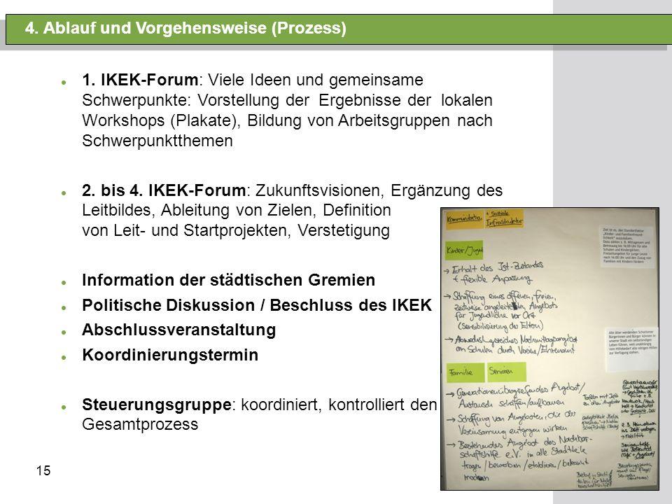 15 4. Ablauf und Vorgehensweise (Prozess) 1. IKEK-Forum: Viele Ideen und gemeinsame Schwerpunkte: Vorstellung der Ergebnisse der lokalen Workshops (Pl