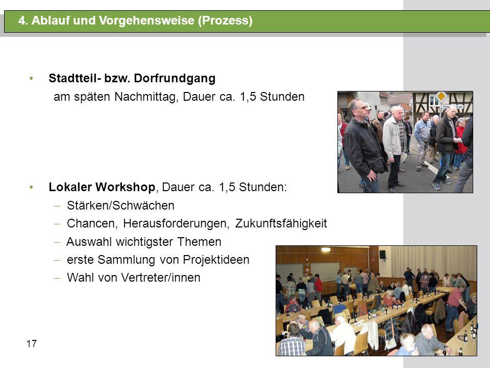 17 4. Ablauf und Vorgehensweise (Prozess) Stadtteil- bzw. Dorfrundgang am späten Nachmittag, Dauer ca. 1,5 Stunden Lokaler Workshop, Dauer ca. 1,5 Stu