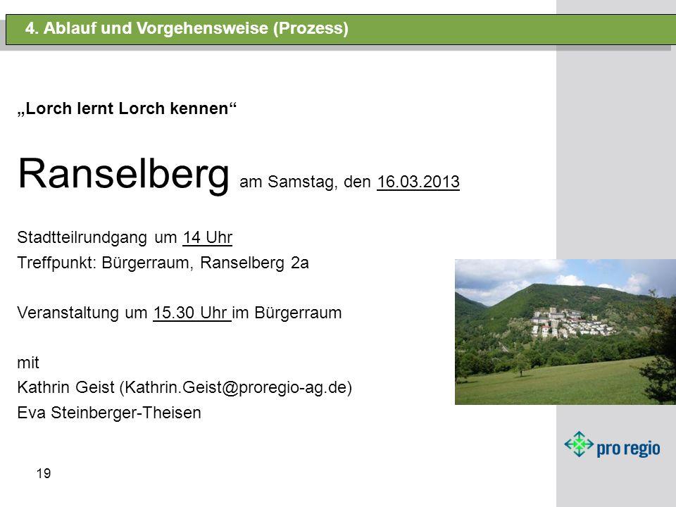 19 4. Ablauf und Vorgehensweise (Prozess) Lorch lernt Lorch kennen Ranselberg am Samstag, den 16.03.2013 Stadtteilrundgang um 14 Uhr Treffpunkt: Bürge