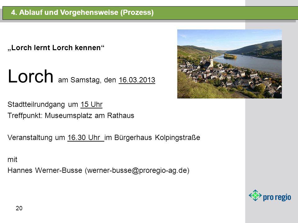 20 4. Ablauf und Vorgehensweise (Prozess) Lorch lernt Lorch kennen Lorch am Samstag, den 16.03.2013 Stadtteilrundgang um 15 Uhr Treffpunkt: Museumspla