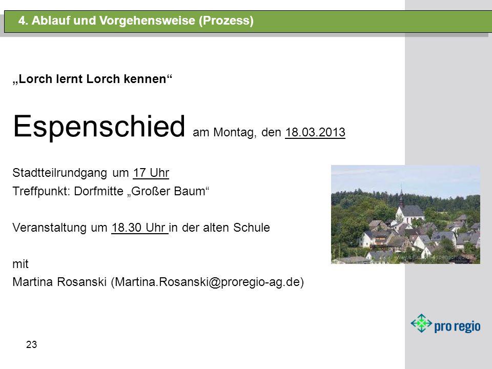 23 4. Ablauf und Vorgehensweise (Prozess) Lorch lernt Lorch kennen Espenschied am Montag, den 18.03.2013 Stadtteilrundgang um 17 Uhr Treffpunkt: Dorfm