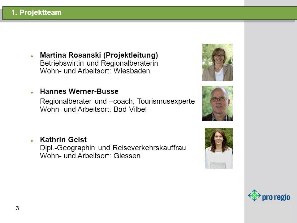 3 1. Projektteam Martina Rosanski (Projektleitung) Betriebswirtin und Regionalberaterin Wohn- und Arbeitsort: Wiesbaden Hannes Werner-Busse Regionalbe