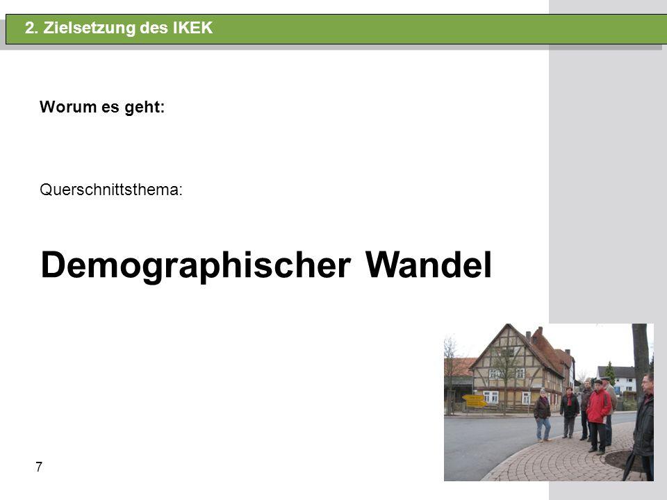 7 2. Zielsetzung des IKEK Worum es geht: Querschnittsthema: Demographischer Wandel