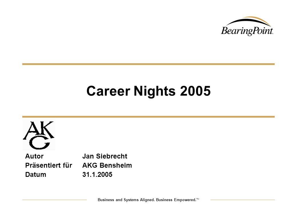 Business and Systems Aligned. Business Empowered. TM Career Nights 2005 AutorJan Siebrecht Präsentiert fürAKG Bensheim Datum31.1.2005