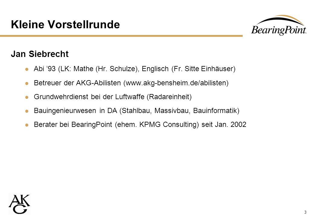 3 Kleine Vorstellrunde Jan Siebrecht Abi 93 (LK: Mathe (Hr. Schulze), Englisch (Fr. Sitte Einhäuser) Betreuer der AKG-Abilisten (www.akg-bensheim.de/a
