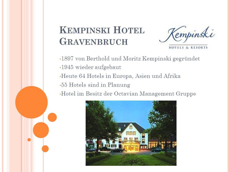K EMPINSKI H OTEL G RAVENBRUCH 1897 von Berthold und Moritz Kempinski gegründet 1945 wieder aufgebaut Heute 64 Hotels in Europa, Asien und Afrika 55 Hotels sind in Planung Hotel im Besitz der Octavian Management Gruppe