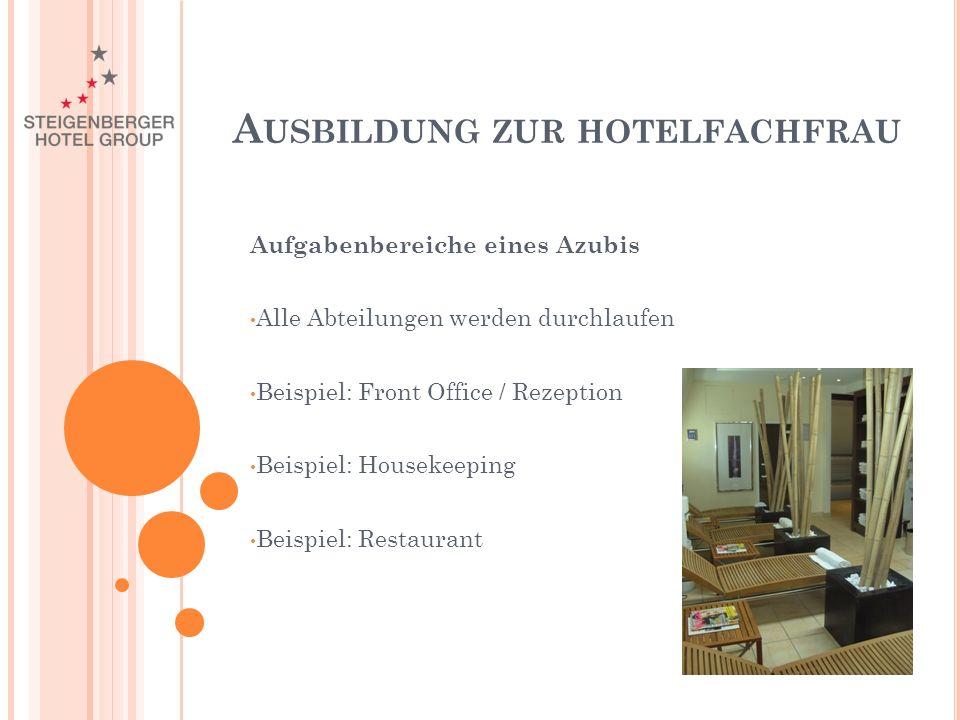 Aufgabenbereiche eines Azubis Alle Abteilungen werden durchlaufen Beispiel: Front Office / Rezeption Beispiel: Housekeeping Beispiel: Restaurant A USBILDUNG ZUR HOTELFACHFRAU