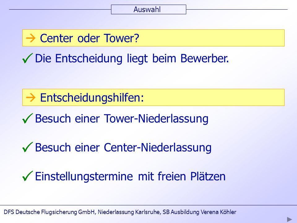 Auswahl Die Entscheidung liegt beim Bewerber. Besuch einer Tower-Niederlassung Besuch einer Center-Niederlassung DFS Deutsche Flugsicherung GmbH, Nied