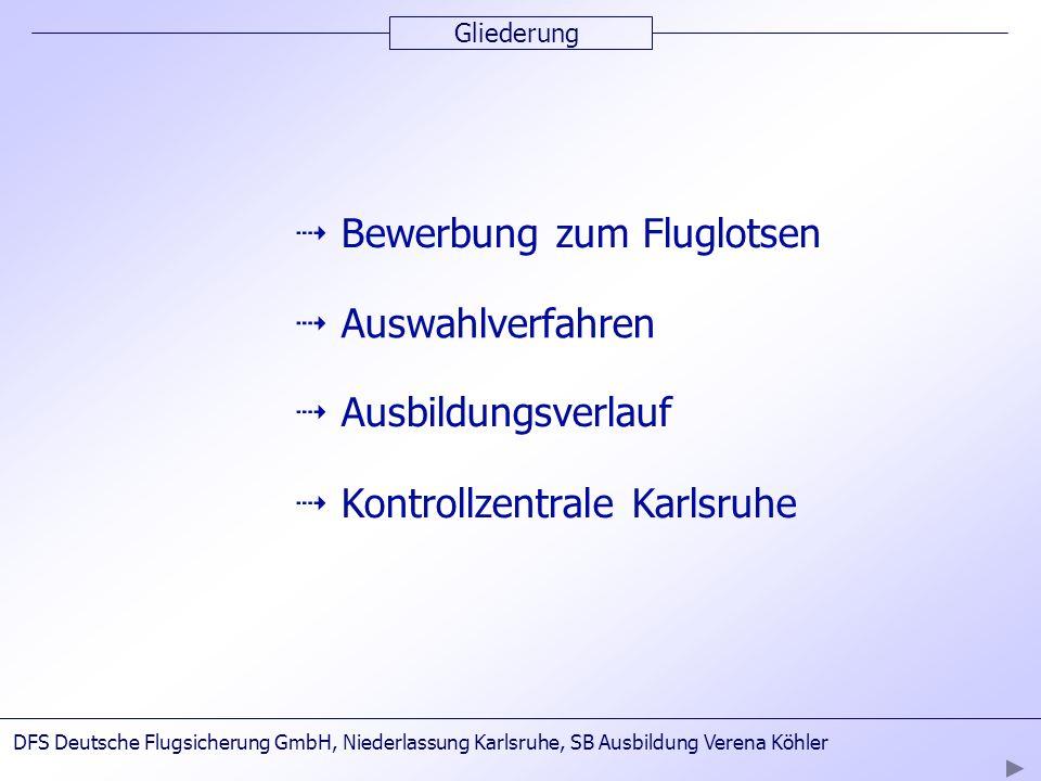 Gliederung Bewerbung zum Fluglotsen Auswahlverfahren Ausbildungsverlauf DFS Deutsche Flugsicherung GmbH, Niederlassung Karlsruhe, SB Ausbildung Verena