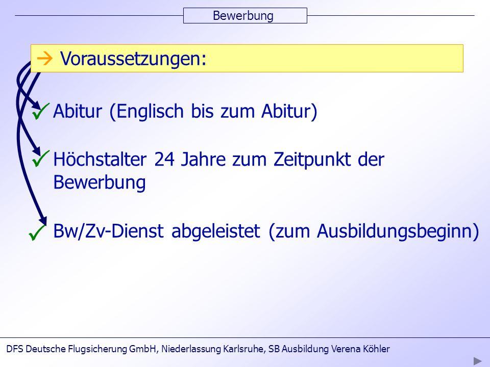 Bewerbung Abitur (Englisch bis zum Abitur) Höchstalter 24 Jahre zum Zeitpunkt der Bewerbung Bw/Zv-Dienst abgeleistet (zum Ausbildungsbeginn) Vorausset