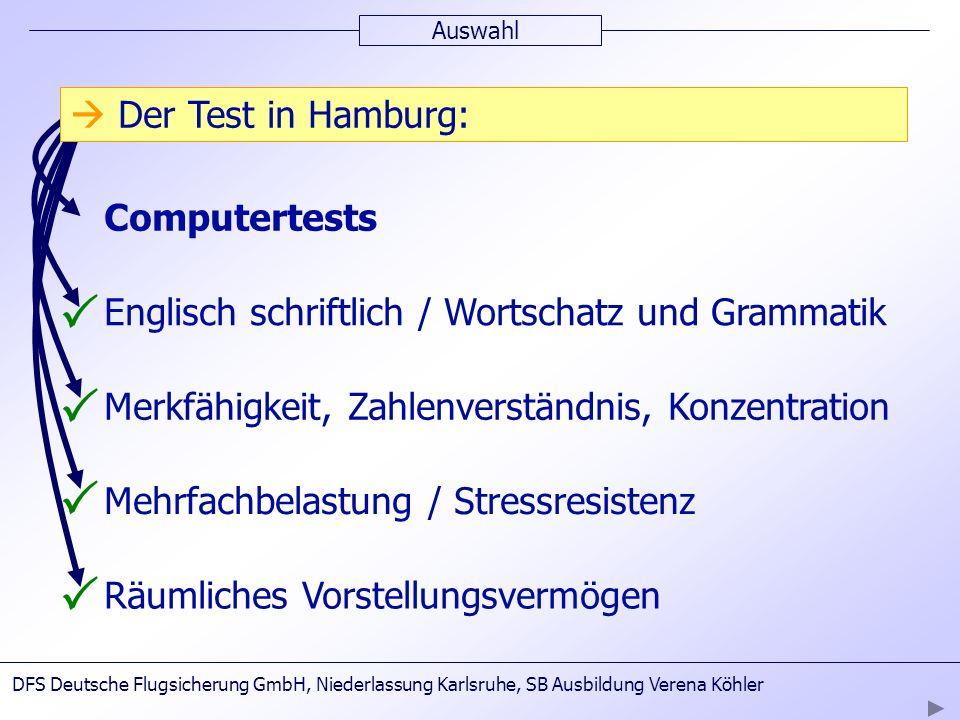 Auswahl Computertests Englisch schriftlich / Wortschatz und Grammatik Merkfähigkeit, Zahlenverständnis, Konzentration Räumliches Vorstellungsvermögen