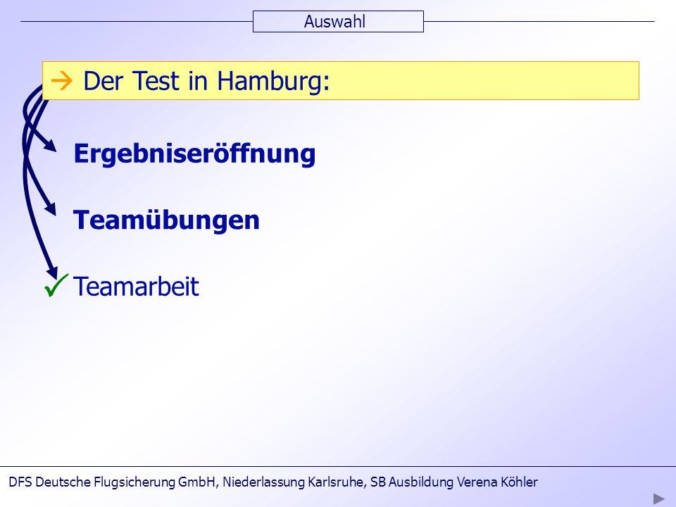 3.Testtag Auswahl Ergebniseröffnung Teamübungen Teamarbeit Der Test in Hamburg: DFS Deutsche Flugsicherung GmbH, Niederlassung Karlsruhe, SB Ausbildun