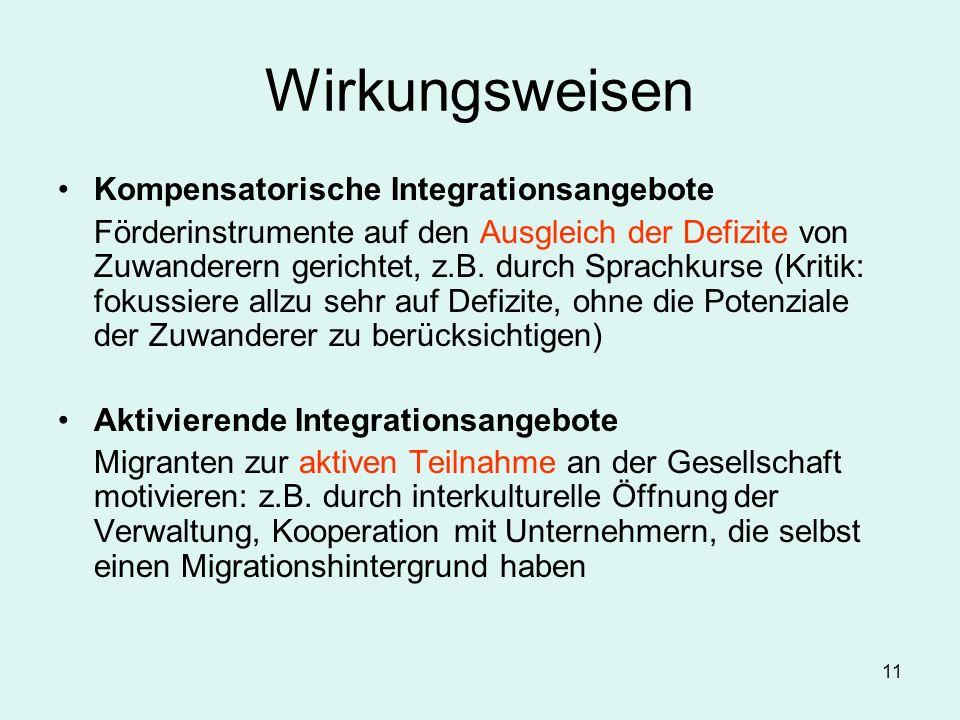 11 Wirkungsweisen Kompensatorische Integrationsangebote Förderinstrumente auf den Ausgleich der Defizite von Zuwanderern gerichtet, z.B. durch Sprachk