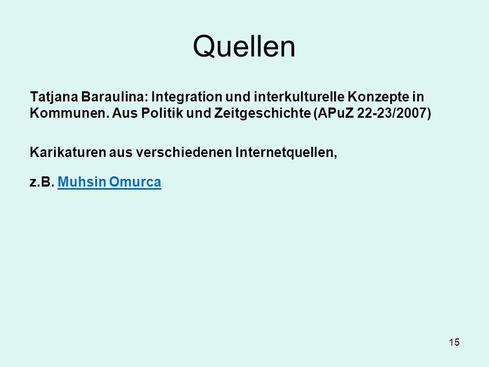 15 Quellen Tatjana Baraulina: Integration und interkulturelle Konzepte in Kommunen. Aus Politik und Zeitgeschichte (APuZ 22-23/2007) Karikaturen aus v