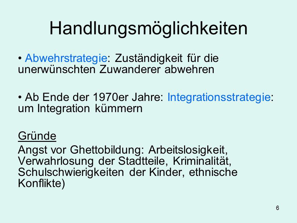 6 Handlungsmöglichkeiten Abwehrstrategie: Zuständigkeit für die unerwünschten Zuwanderer abwehren Ab Ende der 1970er Jahre: Integrationsstrategie: um