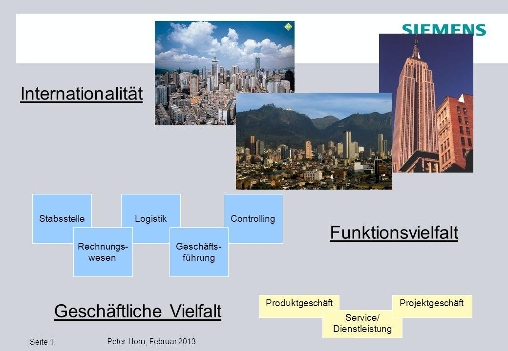 Quelle: Siemens Professional Education ControllingLogistik Peter Horn, Februar 2013 Seite 1 Internationalität Funktionsvielfalt Geschäftliche Vielfalt Stabsstelle Rechnungs- wesen Geschäfts- führung Produktgeschäft Service/ Dienstleistung Projektgeschäft