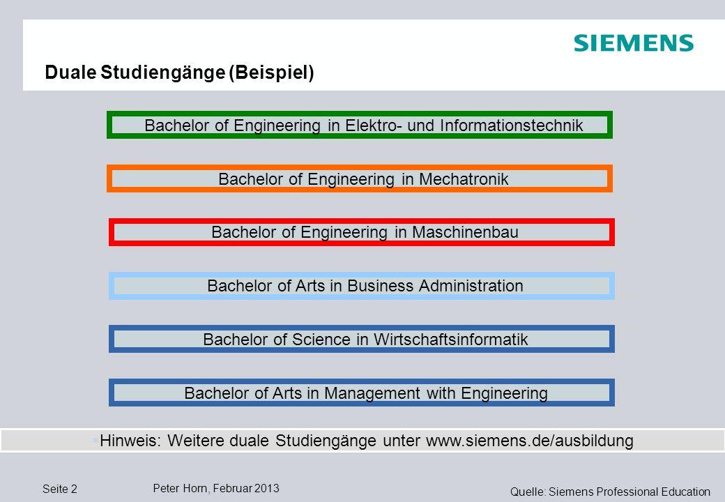 Quelle: Siemens Professional Education ControllingLogistik Peter Horn, Februar 2013 Seite 1 Internationalität Funktionsvielfalt Geschäftliche Vielfalt