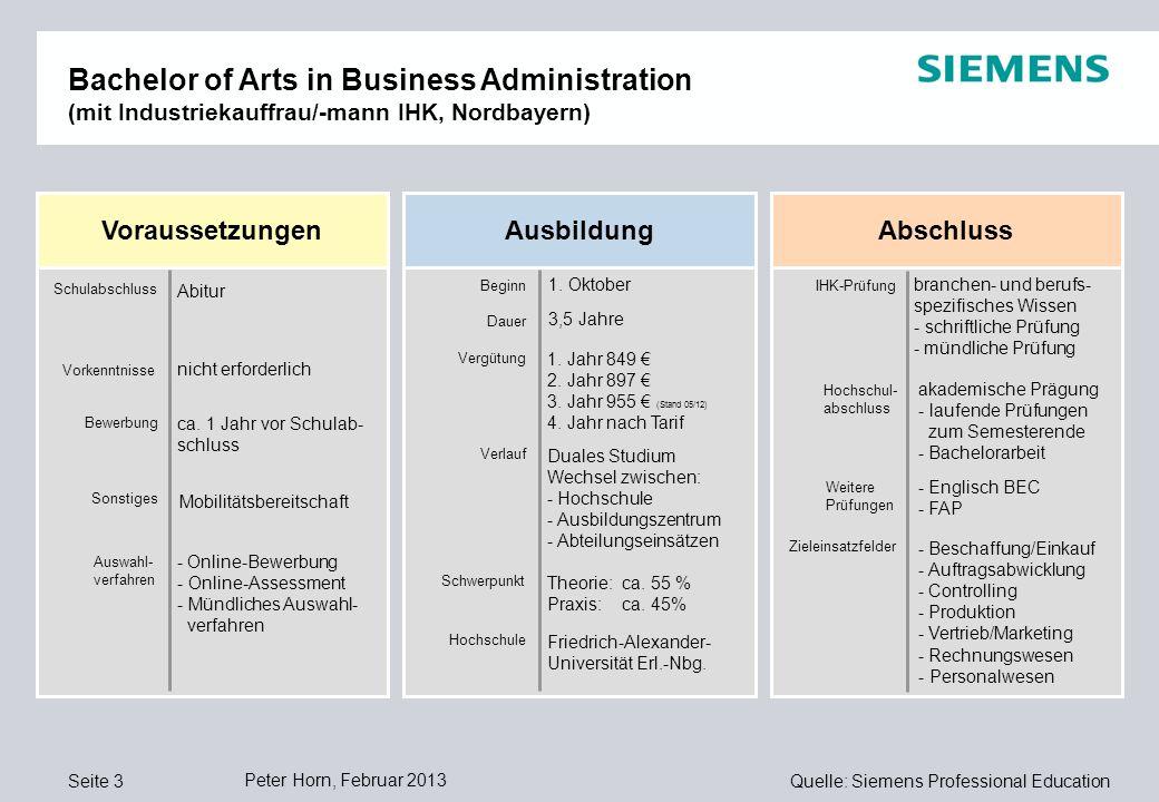 Quelle: Siemens Professional Education Voraussetzungen AusbildungAbschluss Schulabschluss Bewerbung Beginn Dauer Vergütung Verlauf Schwerpunkt ca.