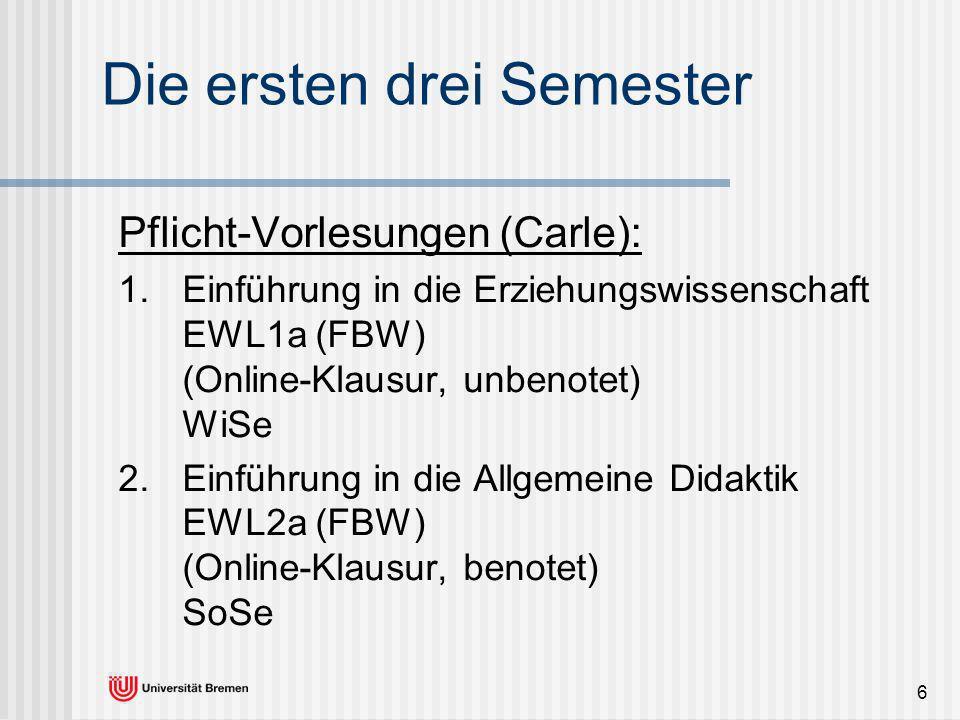6 Die ersten drei Semester Pflicht-Vorlesungen (Carle): 1. Einführung in die Erziehungswissenschaft EWL1a (FBW) (Online-Klausur, unbenotet) WiSe Einfü