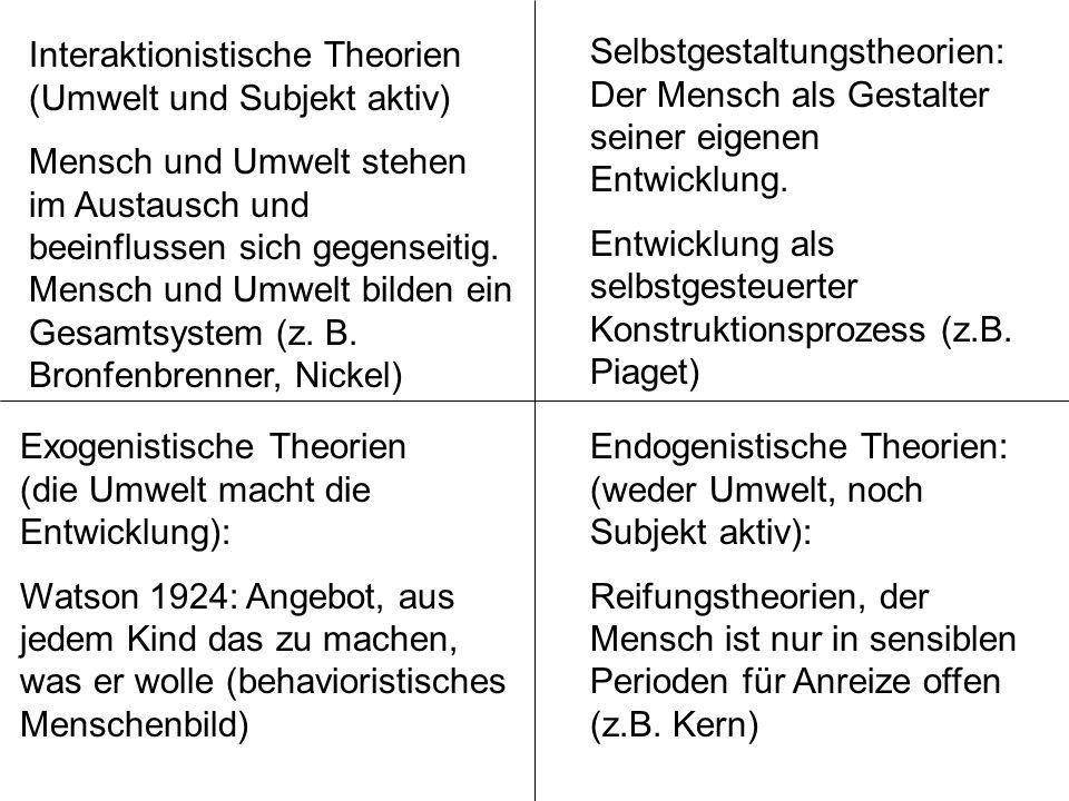 Exogenistische Theorien (die Umwelt macht die Entwicklung): Watson 1924: Angebot, aus jedem Kind das zu machen, was er wolle (behavioristisches Mensch