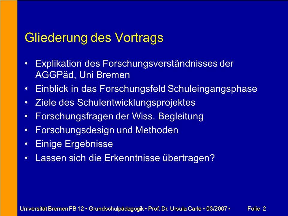 Folie 2Universität Bremen FB 12 Grundschulpädagogik Prof. Dr. Ursula Carle 03/2007 Gliederung des Vortrags Explikation des Forschungsverständnisses de