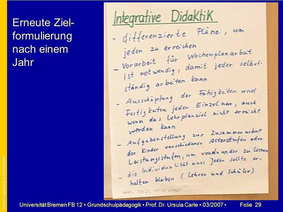 Folie 29Universität Bremen FB 12 Grundschulpädagogik Prof. Dr. Ursula Carle 03/2007 Erneute Ziel- formulierung nach einem Jahr Forschungsdesign und Me