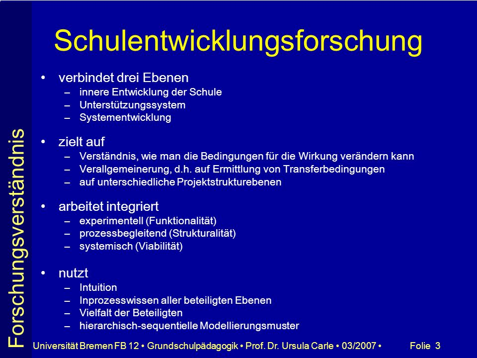 Folie 3Universität Bremen FB 12 Grundschulpädagogik Prof. Dr. Ursula Carle 03/2007 Schulentwicklungsforschung verbindet drei Ebenen –innere Entwicklun