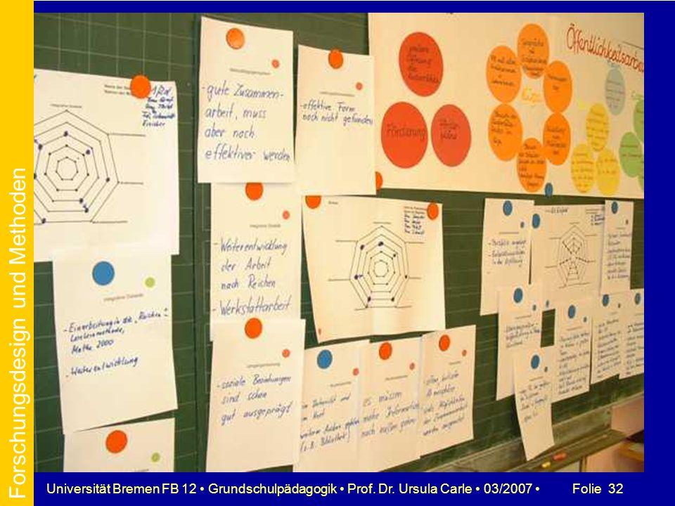 Folie 32Universität Bremen FB 12 Grundschulpädagogik Prof. Dr. Ursula Carle 03/2007 Forschungsdesign und Methoden