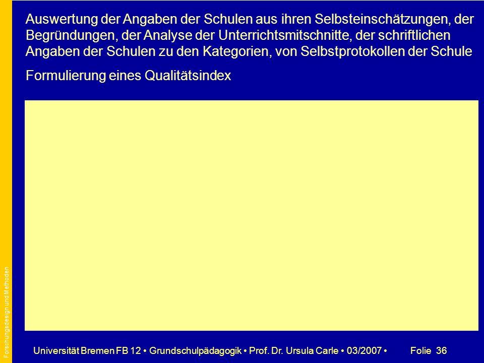 Folie 36Universität Bremen FB 12 Grundschulpädagogik Prof. Dr. Ursula Carle 03/2007 Auswertung der Angaben der Schulen aus ihren Selbsteinschätzungen,