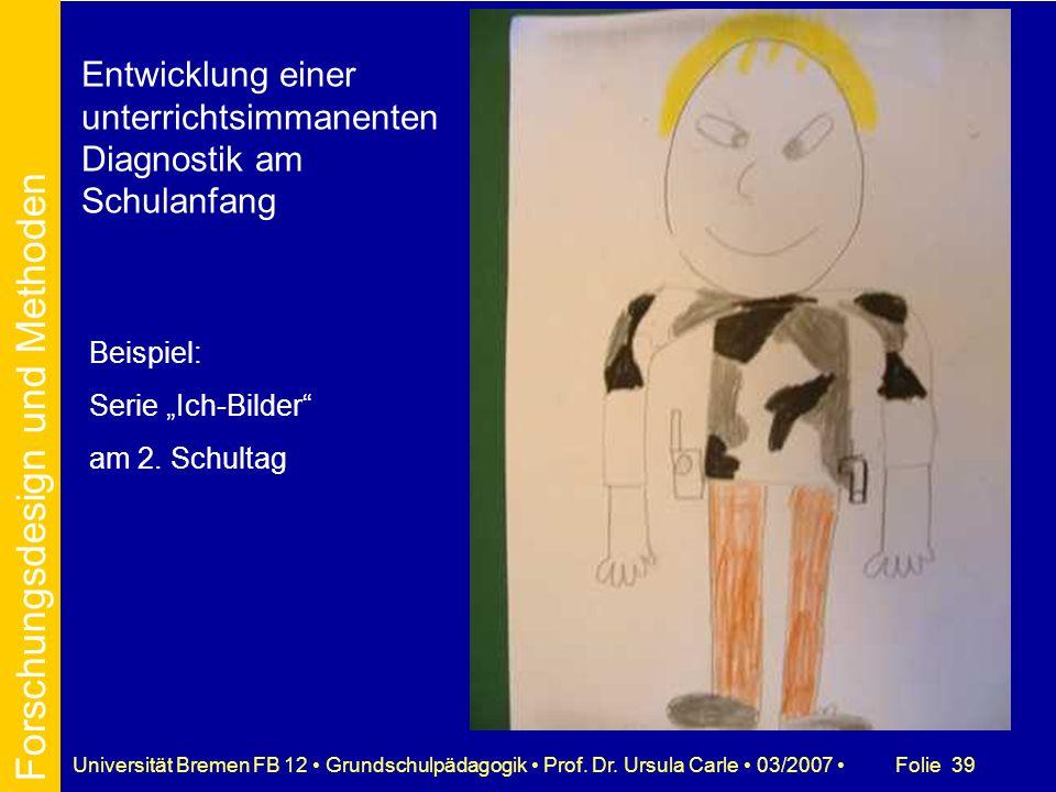 Folie 39Universität Bremen FB 12 Grundschulpädagogik Prof. Dr. Ursula Carle 03/2007 Entwicklung einer unterrichtsimmanenten Diagnostik am Schulanfang