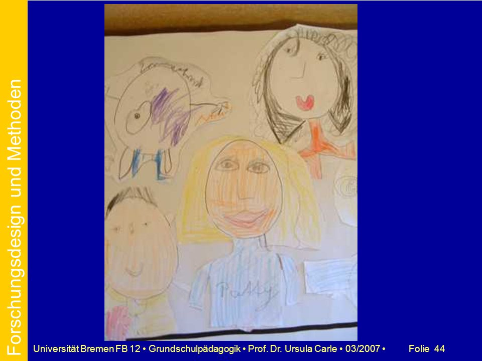 Folie 44Universität Bremen FB 12 Grundschulpädagogik Prof. Dr. Ursula Carle 03/2007 Forschungsdesign und Methoden