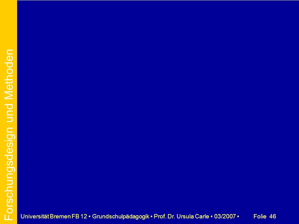 Folie 46Universität Bremen FB 12 Grundschulpädagogik Prof. Dr. Ursula Carle 03/2007 Forschungsdesign und Methoden
