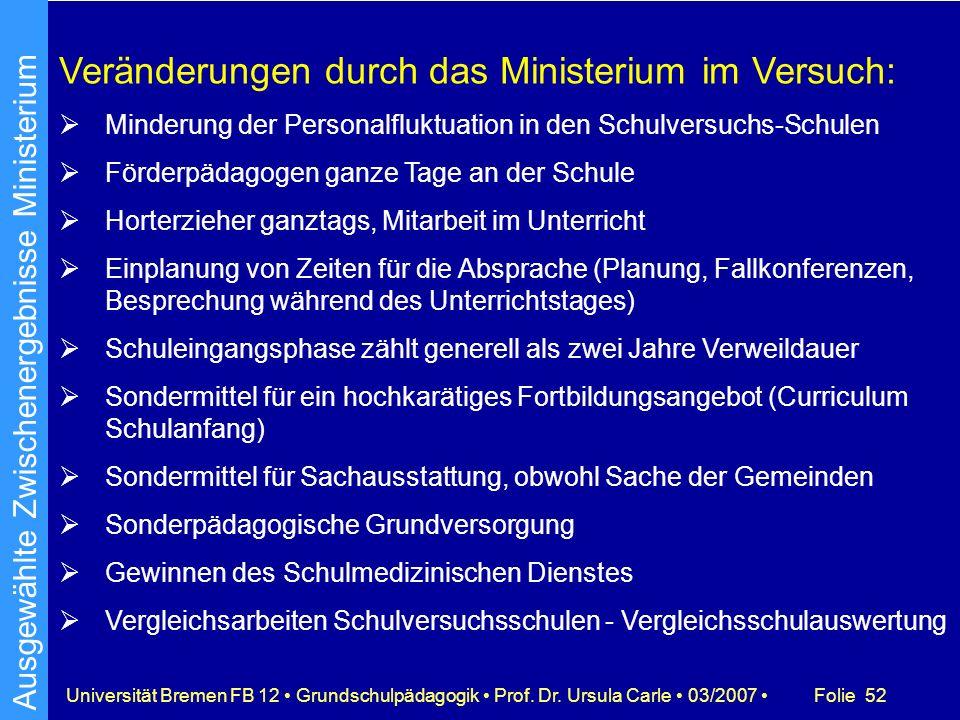 Folie 52Universität Bremen FB 12 Grundschulpädagogik Prof. Dr. Ursula Carle 03/2007 Veränderungen durch das Ministerium im Versuch: Minderung der Pers