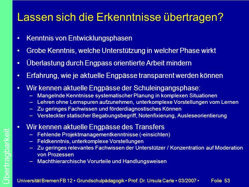 Folie 53Universität Bremen FB 12 Grundschulpädagogik Prof. Dr. Ursula Carle 03/2007 Lassen sich die Erkenntnisse übertragen? Kenntnis von Entwicklungs