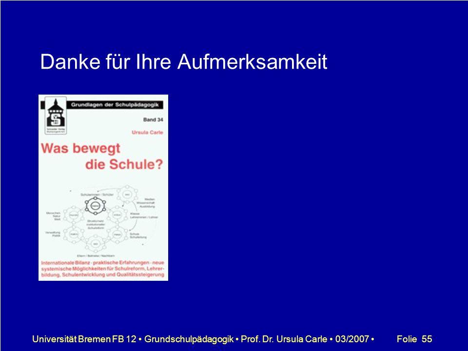 Folie 55Universität Bremen FB 12 Grundschulpädagogik Prof. Dr. Ursula Carle 03/2007 Danke für Ihre Aufmerksamkeit