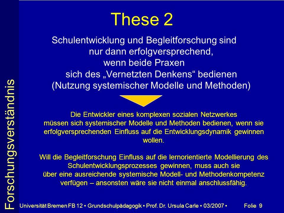 Folie 9Universität Bremen FB 12 Grundschulpädagogik Prof. Dr. Ursula Carle 03/2007 These 2 Schulentwicklung und Begleitforschung sind nur dann erfolgv