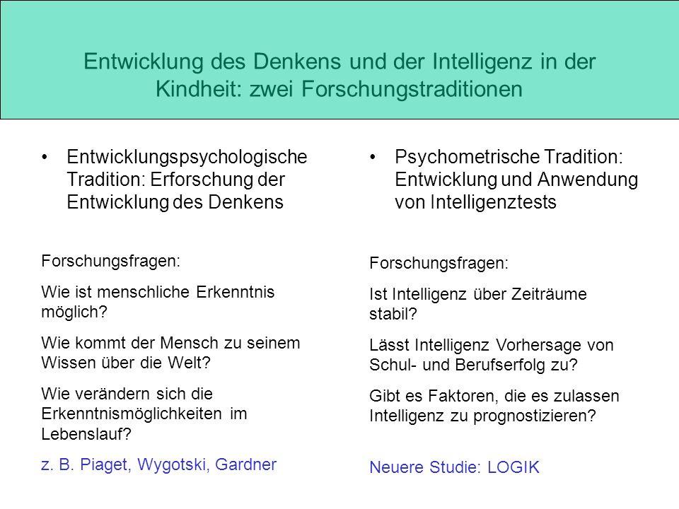 Entwicklung des Denkens und der Intelligenz in der Kindheit: zwei Forschungstraditionen Psychometrische Tradition: Entwicklung und Anwendung von Intel