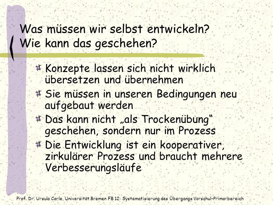 Prof. Dr. Ursula Carle, Universität Bremen FB 12: Systematisierung des Übergangs Vorschul-Primarbereich Was müssen wir selbst entwickeln? Wie kann das