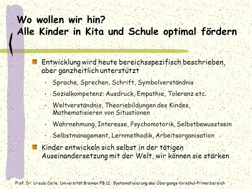 Prof. Dr. Ursula Carle, Universität Bremen FB 12: Systematisierung des Übergangs Vorschul-Primarbereich Wo wollen wir hin? Alle Kinder in Kita und Sch