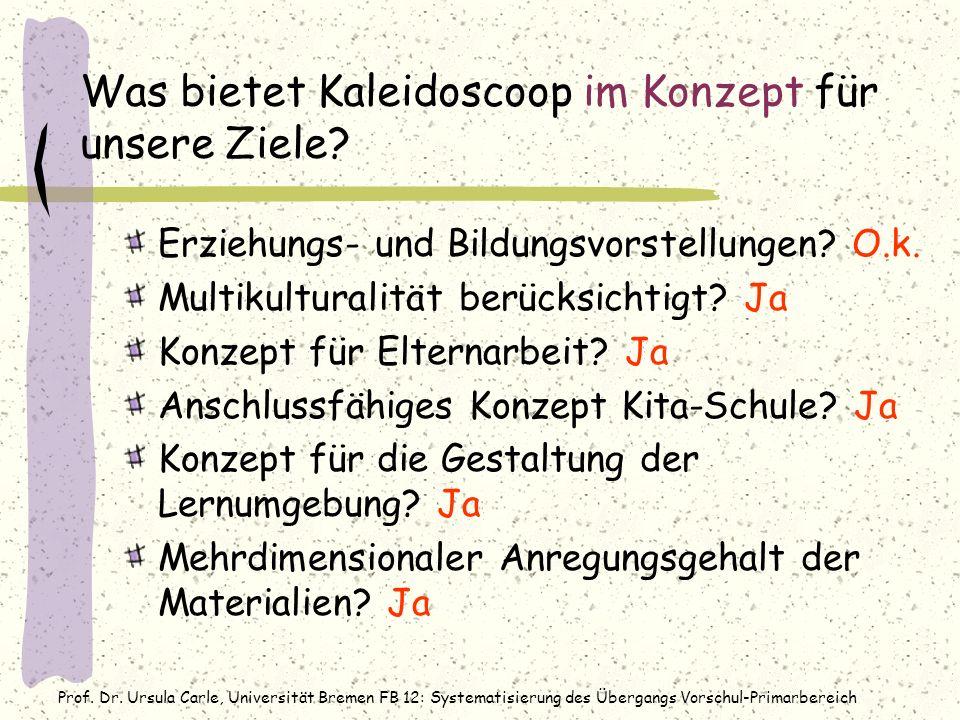 Prof. Dr. Ursula Carle, Universität Bremen FB 12: Systematisierung des Übergangs Vorschul-Primarbereich Was bietet Kaleidoscoop im Konzept für unsere