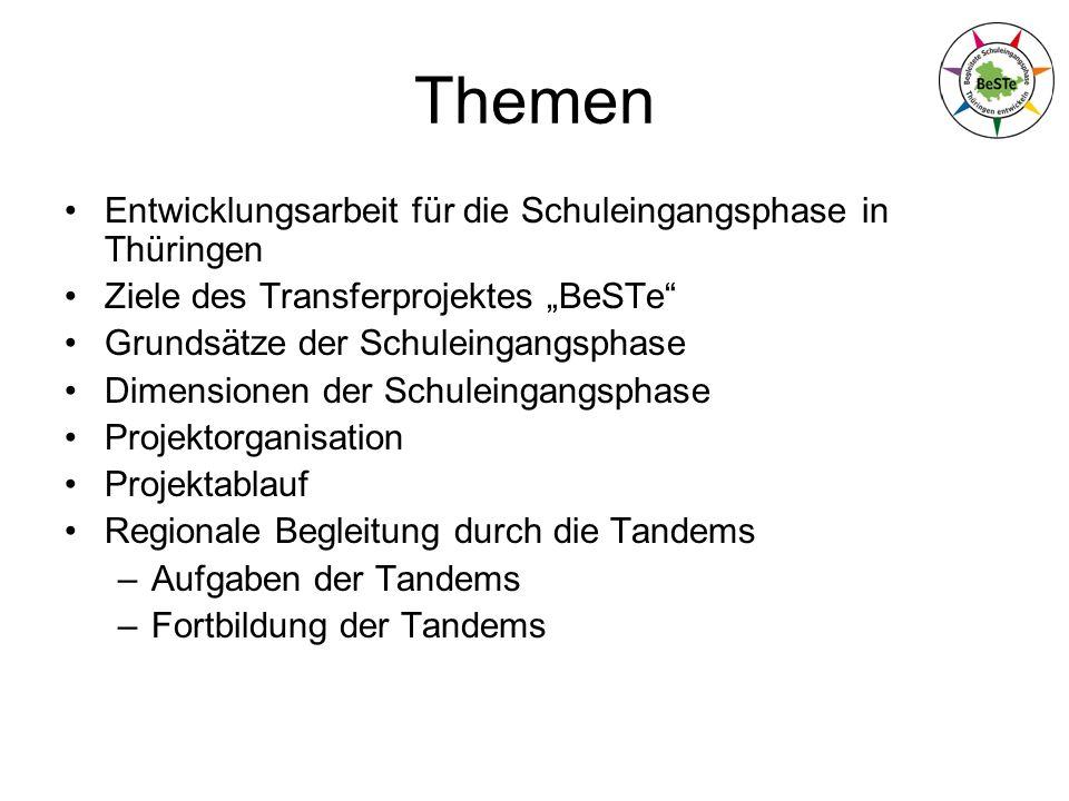 Themen Entwicklungsarbeit für die Schuleingangsphase in Thüringen Ziele des Transferprojektes BeSTe Grundsätze der Schuleingangsphase Dimensionen der