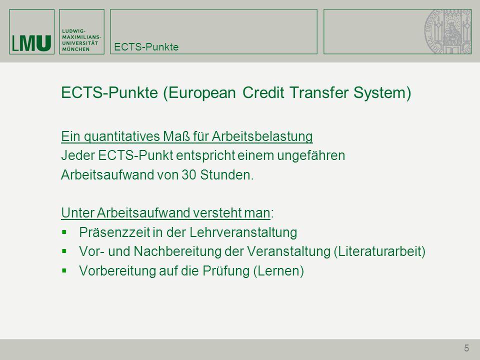 5 ECTS-Punkte ECTS-Punkte (European Credit Transfer System) Ein quantitatives Maß für Arbeitsbelastung Jeder ECTS-Punkt entspricht einem ungefähren Ar