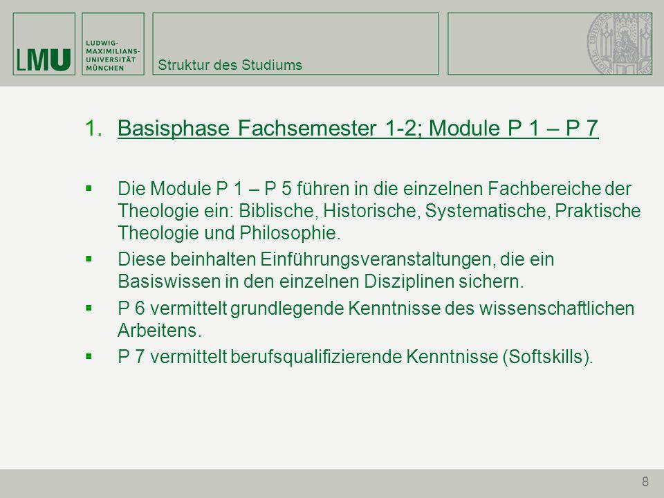 8 Struktur des Studiums Basisphase Fachsemester 1-2; Module P 1 – P 7 Die Module P 1 – P 5 führen in die einzelnen Fachbereiche der Theologie ein: Bib