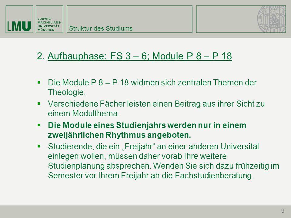 9 Struktur des Studiums 2. Aufbauphase: FS 3 – 6; Module P 8 – P 18 Die Module P 8 – P 18 widmen sich zentralen Themen der Theologie. Verschiedene Fäc