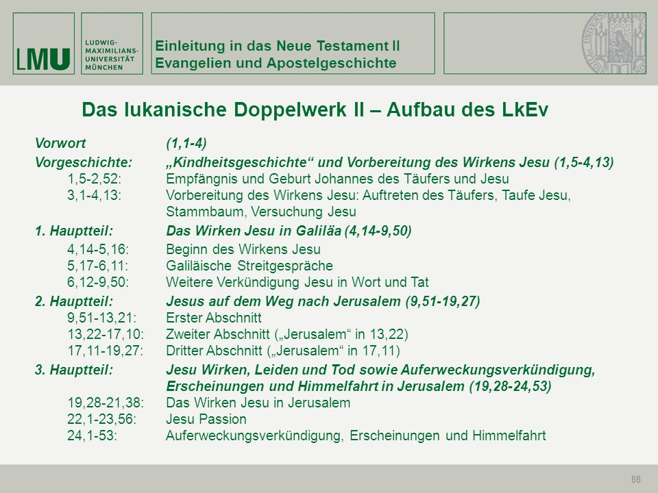 Einleitung in das Neue Testament II Evangelien und Apostelgeschichte 88 Das lukanische Doppelwerk II – Aufbau des LkEv Vorwort (1,1-4) Vorgeschichte: