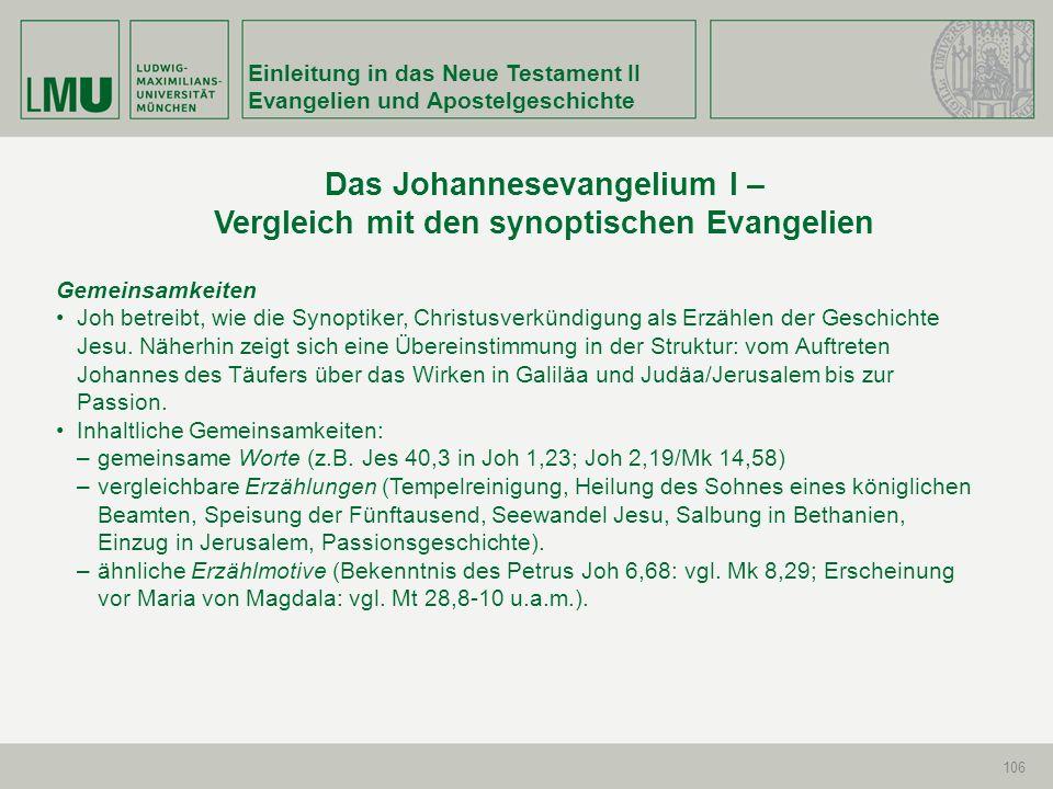 Einleitung in das Neue Testament II Evangelien und Apostelgeschichte 106 Gemeinsamkeiten Joh betreibt, wie die Synoptiker, Christusverkündigung als Er