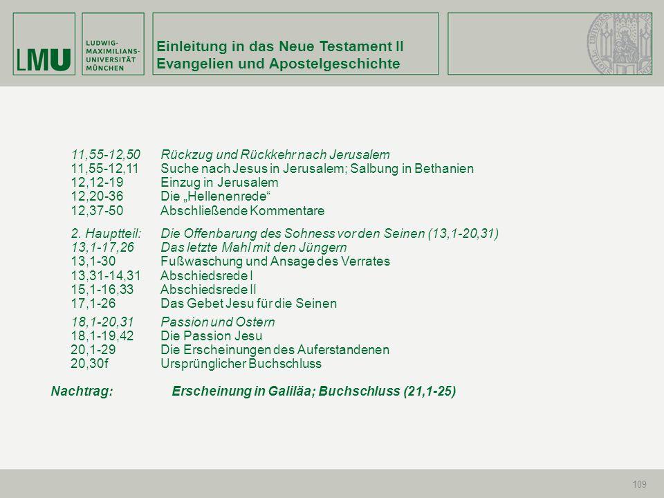 Einleitung in das Neue Testament II Evangelien und Apostelgeschichte 109 11,55-12,50Rückzug und Rückkehr nach Jerusalem 11,55-12,11Suche nach Jesus in