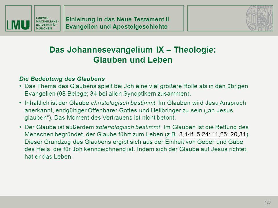 Einleitung in das Neue Testament II Evangelien und Apostelgeschichte 120 Die Bedeutung des Glaubens Das Thema des Glaubens spielt bei Joh eine viel gr