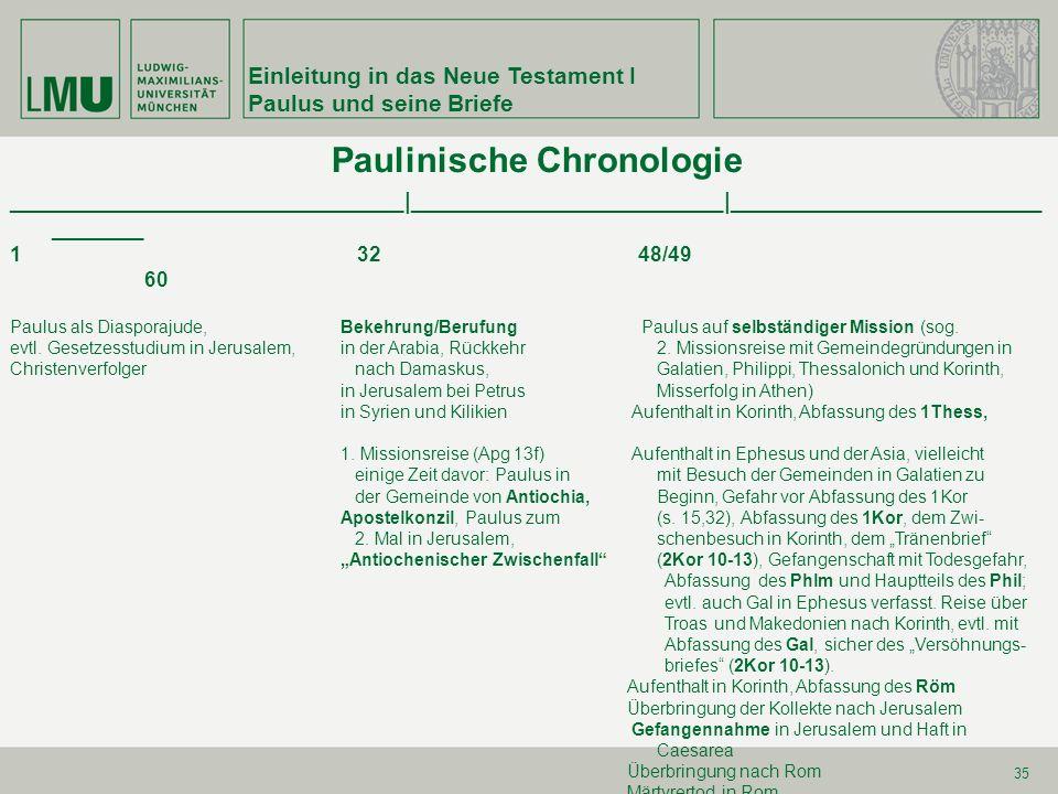 Einleitung in das Neue Testament I Paulus und seine Briefe 35 Paulinische Chronologie ______________________________|________________________|________